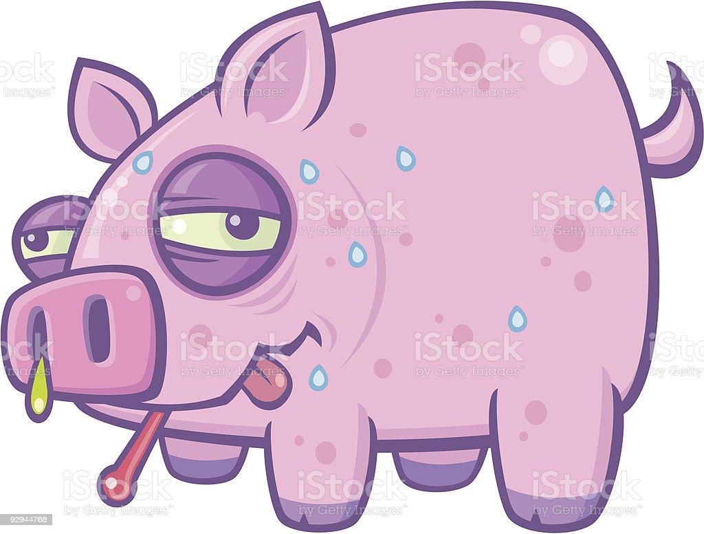 Cartoon Swine Flu Pig vector art illustration