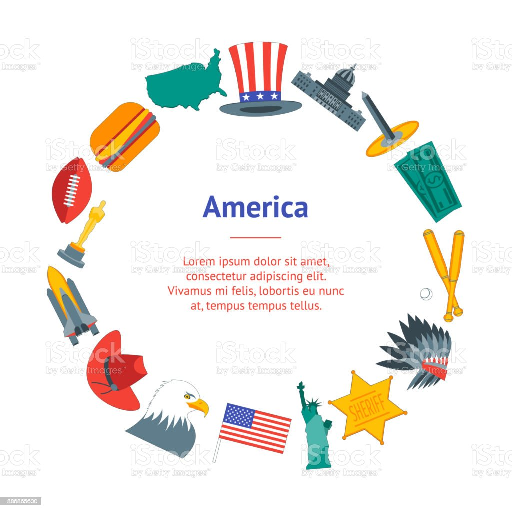 Cartoon Symbol Of America Banner Card Circle Vector Stock Vector Art