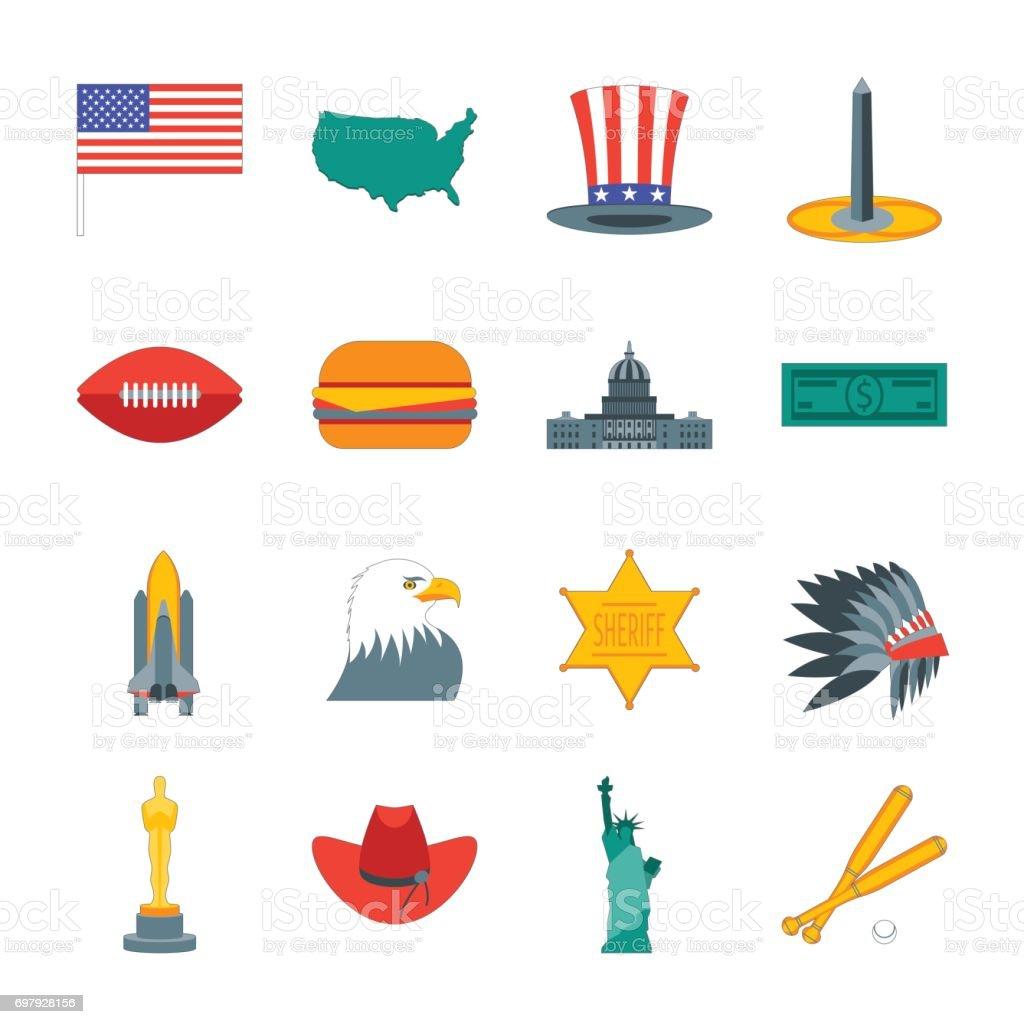 Cartoon Symbol Of America Color Icons Set Vector Stock Vector Art
