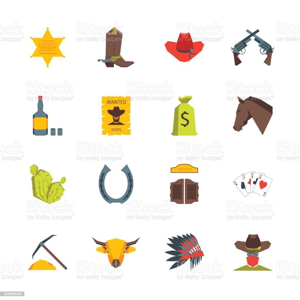 Cartoon Symbol Of Cowboy Color Icons Set Vector Stock Vector Art