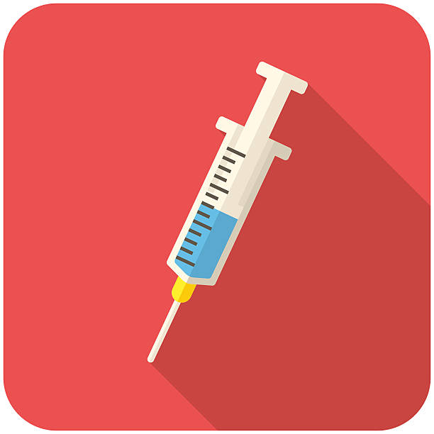 stockillustraties, clipart, cartoons en iconen met cartoon syringe half filled with blue liquid on red backing - vaccin