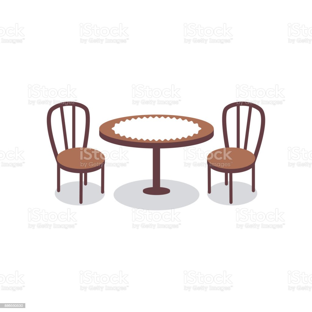 Cartoon Dining Room: Cartoon Table Covered With White Cloth For Two People And