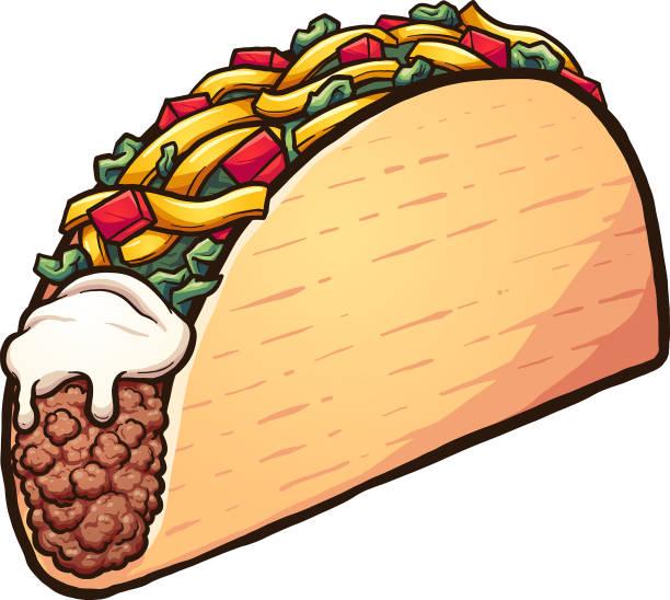 cartoon taco - taco stock illustrations, clip art, cartoons, & icons