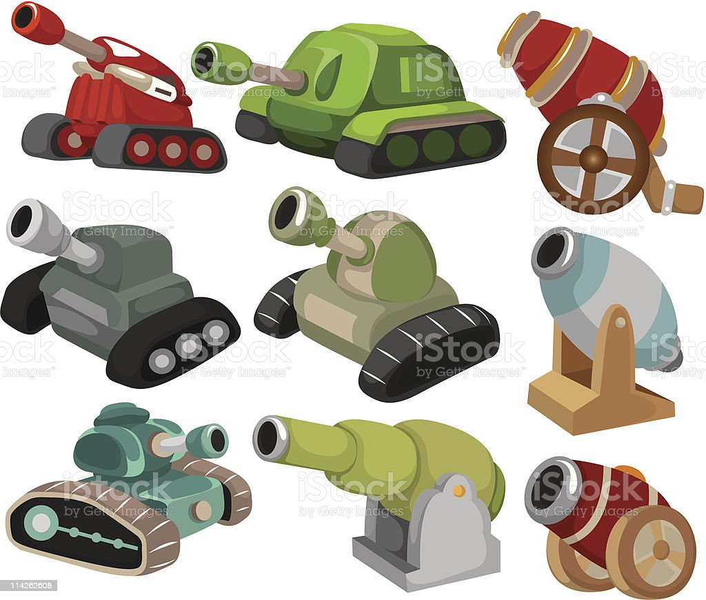 cartoon Tank and cannon icon set royalty-free stock vector art