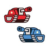Cartoon tank icons, red and blue opponent forces. Game art or infographic element vector illustration.