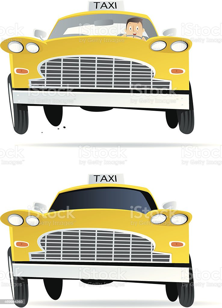 Cartoon taxi vector art illustration