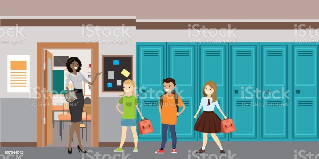 Ilustración de Dibujos Animados De Profesor Y Alumnos En El Salón De ...