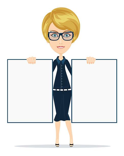 cartoon lehrer geschäftsfrau mit brille holding zwei poster whiteboard - smileys zum kopieren stock-grafiken, -clipart, -cartoons und -symbole