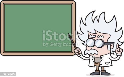 istock cartoon Teacher points to blackboard for your text /scientist /professor 165793994