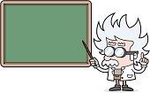 cartoon Teacher points to blackboard for your text /scientist /professor
