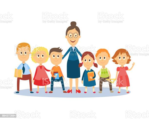 Cartoon Teacher Standing With Students Pupils Stock Illustration Download Image Now Istock