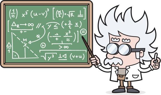 cartoon Teacher with a complicated calculation /scientist /professor