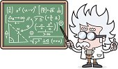 vector drawing of a teacher points to a chalkboard with a complicated calculation