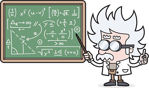 illustrations, cliparts, dessins animés et icônes de professeur de dessin animé avec un calcul complexe/scientifique ou professeur d'université - professeur d'université