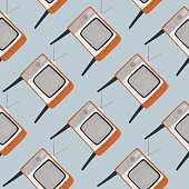 Cartoon technic seamless pattern with grey tv ornament. Light blue background. Flat vector print for textile, fabric, giftwrap, wallpapers. Endless illustration.