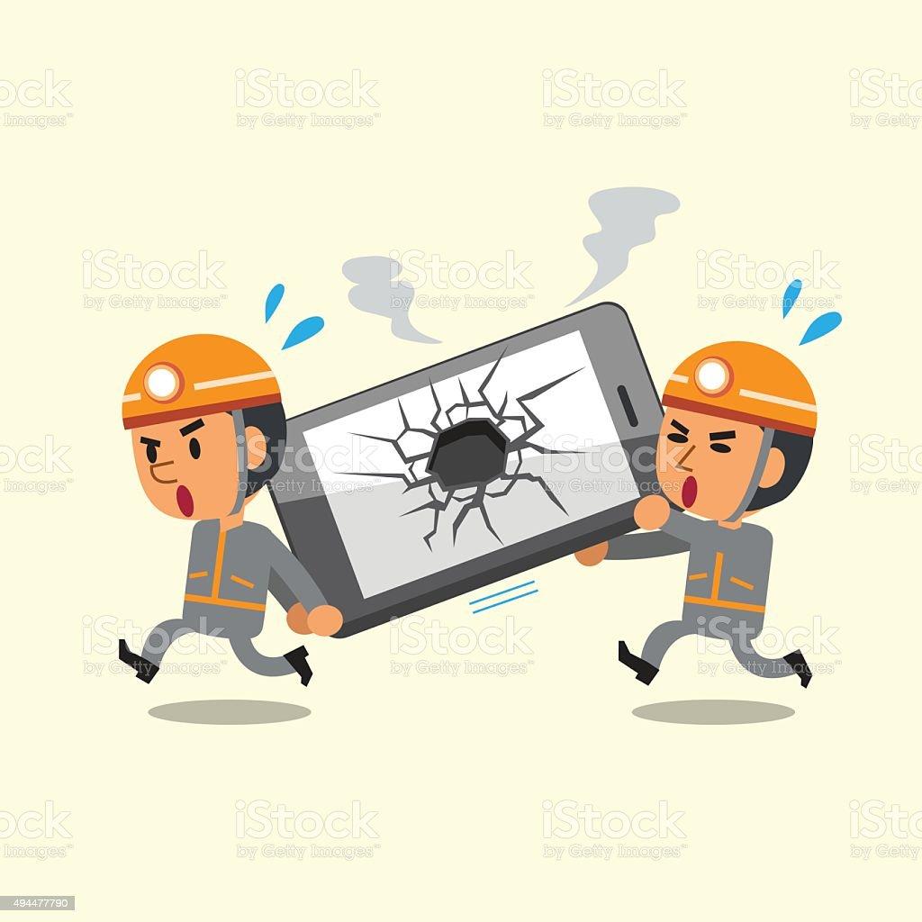 Cartoon technicians helping broken smartphone vector art illustration