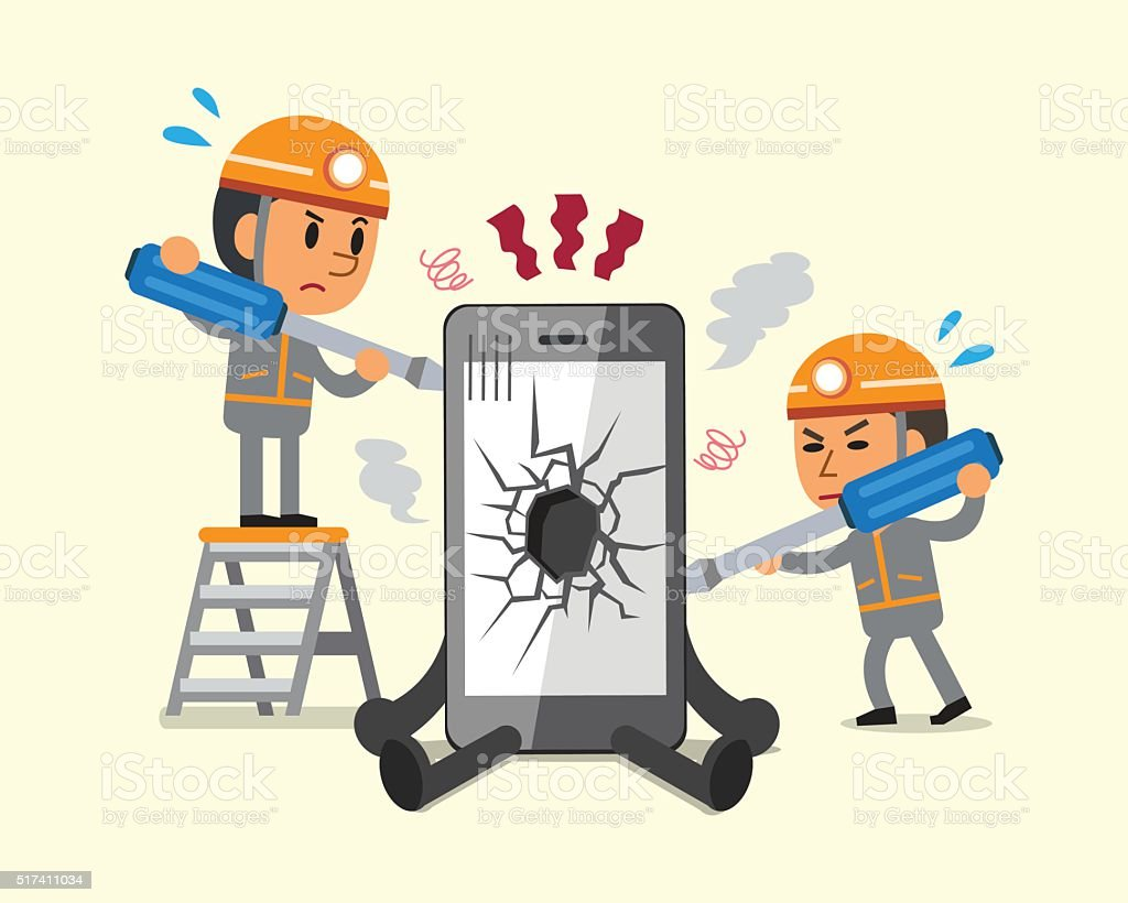 Cartoon technicians repairing smartphone broken smartphone vector art illustration