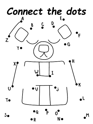 Cartoon teddy bear connect the dots puzzle stock vector illustration