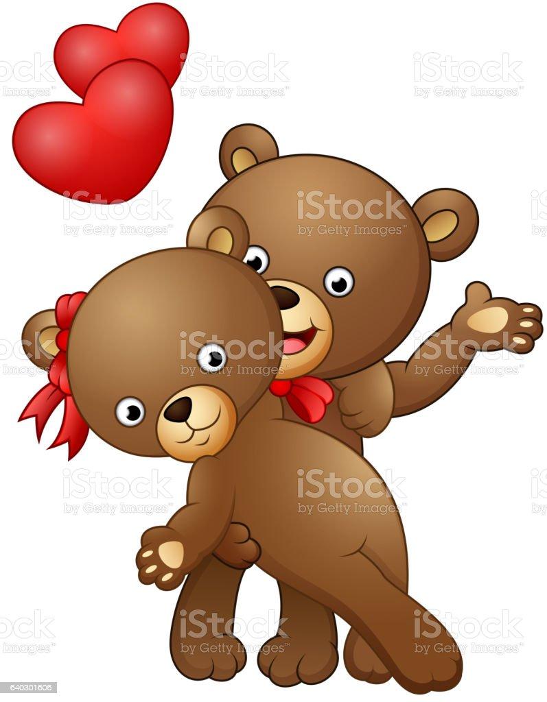 Cartoon teddy bear couple dancing with red heart vector art illustration