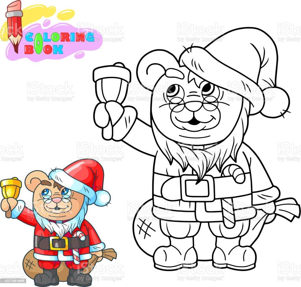 Cizgi Film Teddy Ayi Noel Baba Boyama Kitabi Komik Resim Stok