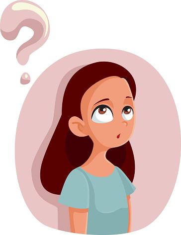 Ilustración de Dibujos Animados Adolescente Niña Que Tiene Preguntas Sobre La Pubertad y más Vectores Libres de Derechos de Adolescencia - iStock