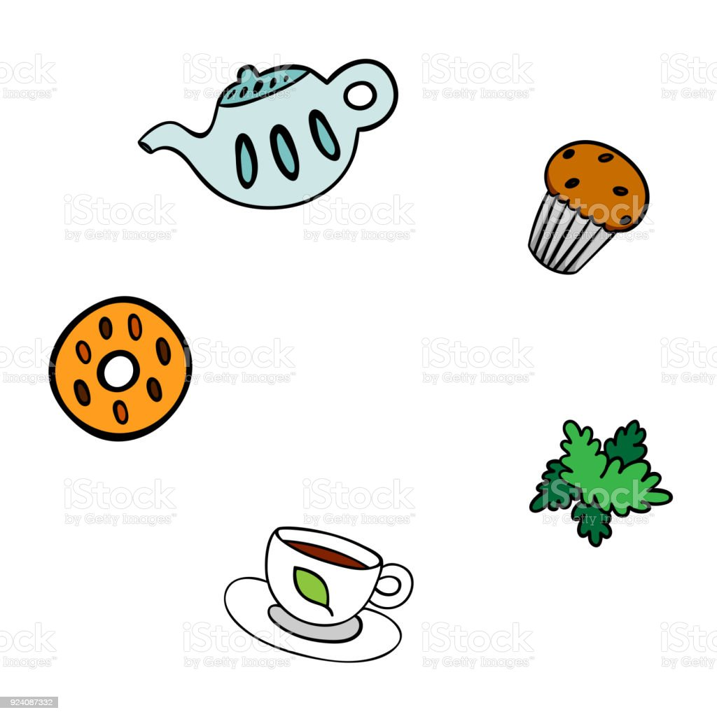 cartoon template for menu teapot cookie cup mint and cupcake