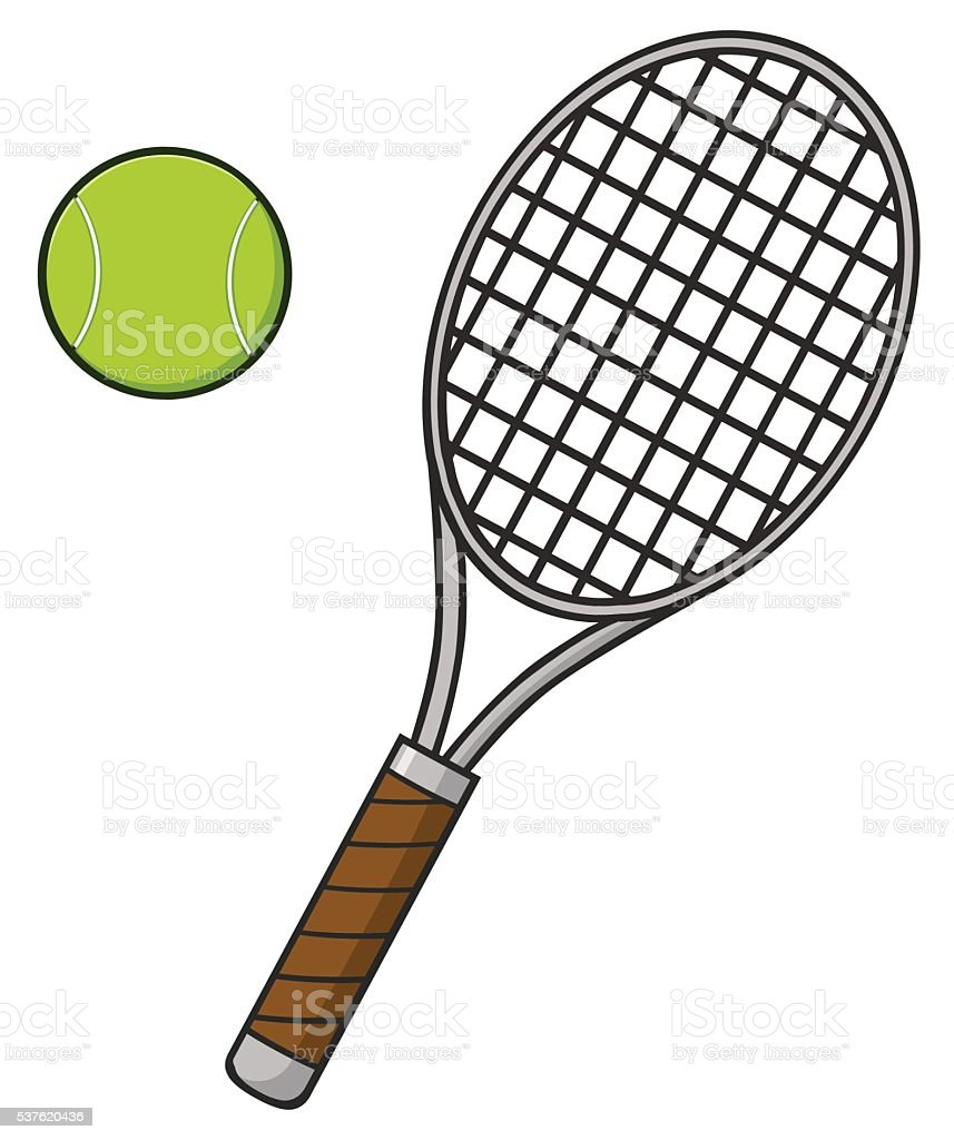 desenhos animados bola de t u00eanis e raquete vetor e tennis racket clip art black and white tennis racket clip art images