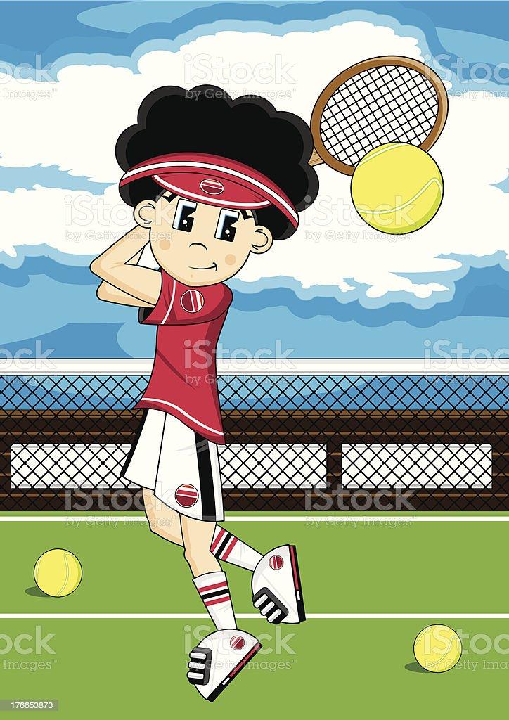 Niño de historieta escena de tenis ilustración de niño de historieta escena de tenis y más banco de imágenes de camiseta libre de derechos