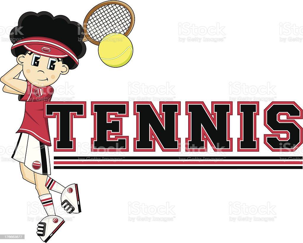 Cartoon Tennis Boy royalty-free cartoon tennis boy stock vector art & more images of backhand stroke