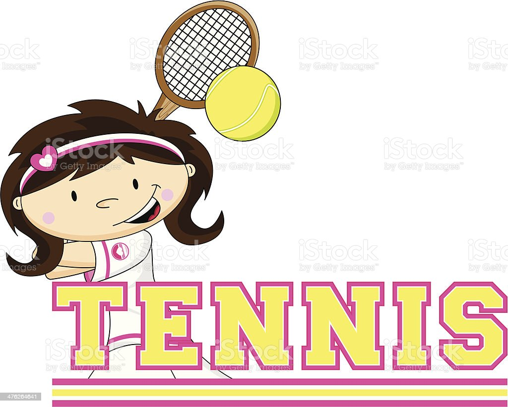 Cartoon Tennis Girl royalty-free cartoon tennis girl stock vector art & more images of backhand stroke