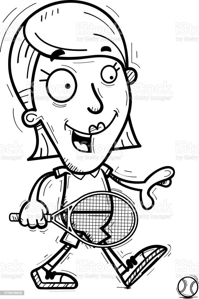 Cartoon-Tennisspieler zu Fuß - Lizenzfrei ClipArt Vektorgrafik