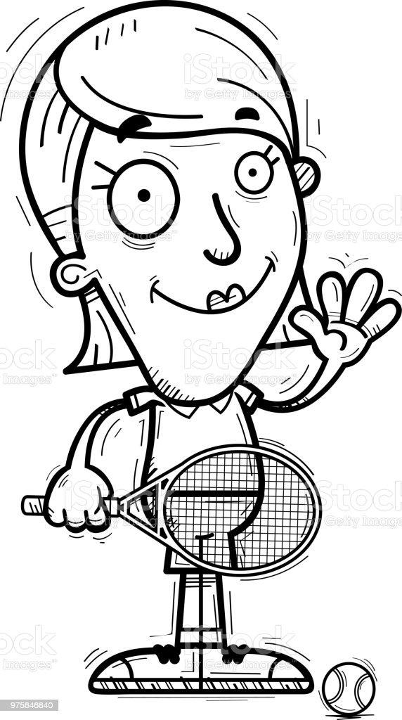 Cartoon-Tennis-Spieler winken - Lizenzfrei ClipArt Vektorgrafik