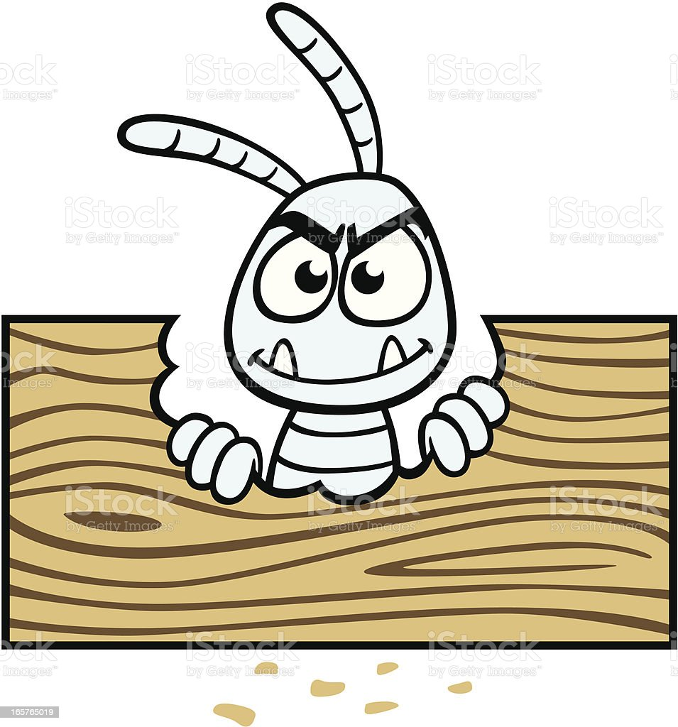 Cartoon Termite With Wood vector art illustration