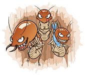 Three cartoon termites on the damaged wood background. Termites series.