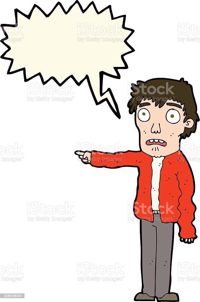 Aterrorizado hombre de historieta señalando con burbuja de discurso ilustración de aterrorizado hombre de historieta señalando con burbuja de discurso y más banco de imágenes de adulto libre de derechos