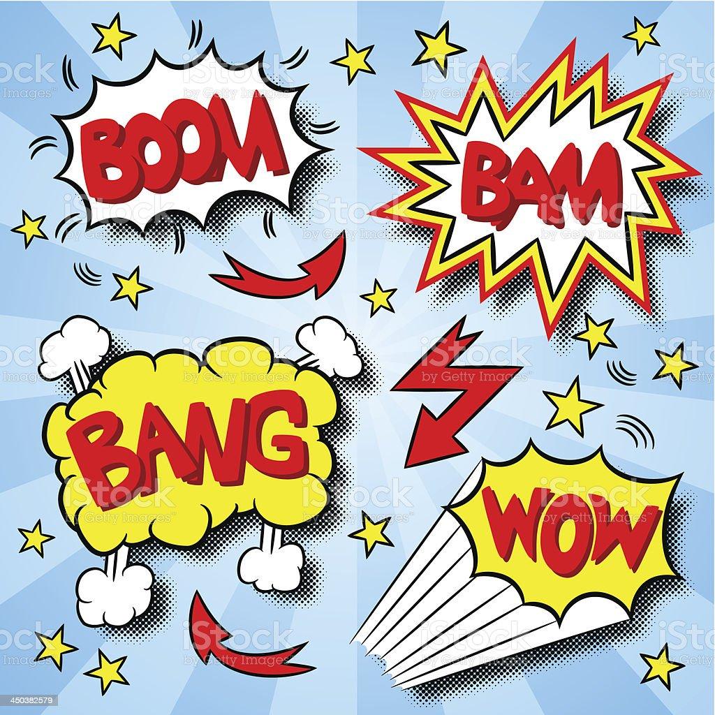 cartoon text explosions royalty-free stock vector art