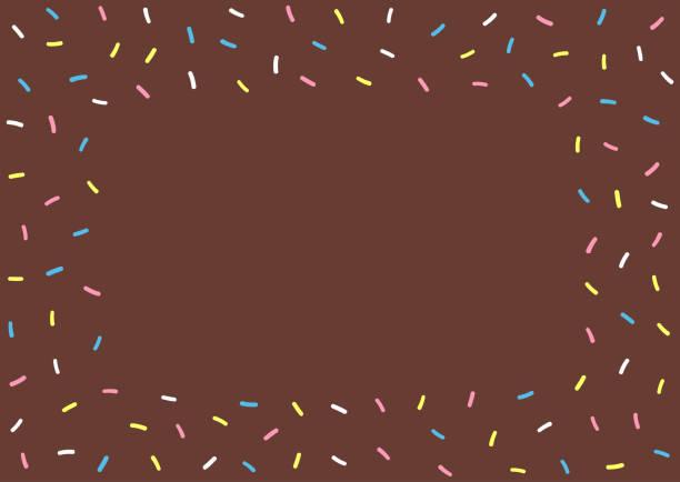 Cartoon texture of chocolate donut glazing. Rectangular colorful background for kids. Cartoon texture of chocolate donut glazing. Rectangular colorful background for kids. Cute vector illustration. cake borders stock illustrations