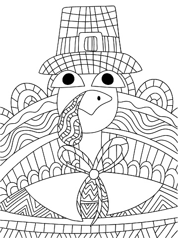 Cartoon thanksgiving day turkey bird in pilgrim hat vector coloring page for kids