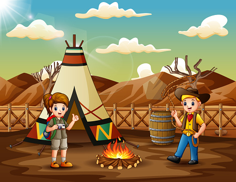 Cartoon the explorer boy and girl camping out in the desert