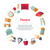 Cartoon Theatre Acting Performance Banner Card Circle Concept Flat Design Style Include of Mask and Curtain. Vector illustration of Icons