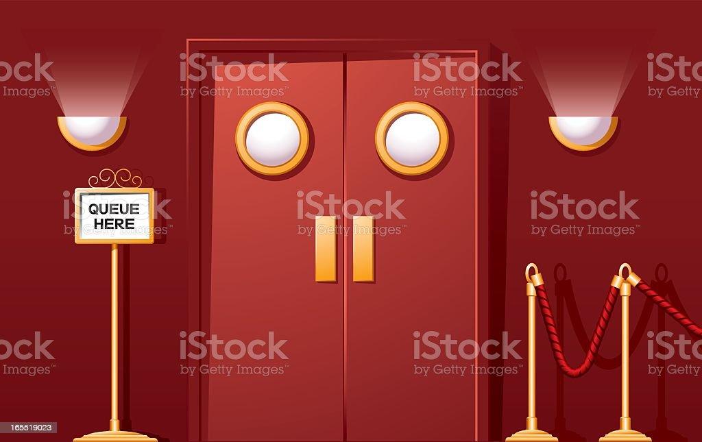 Cartoon theatre doors with a queue here sign vector art illustration & Royalty Free Cinema Door Clip Art Vector Images u0026 Illustrations ...