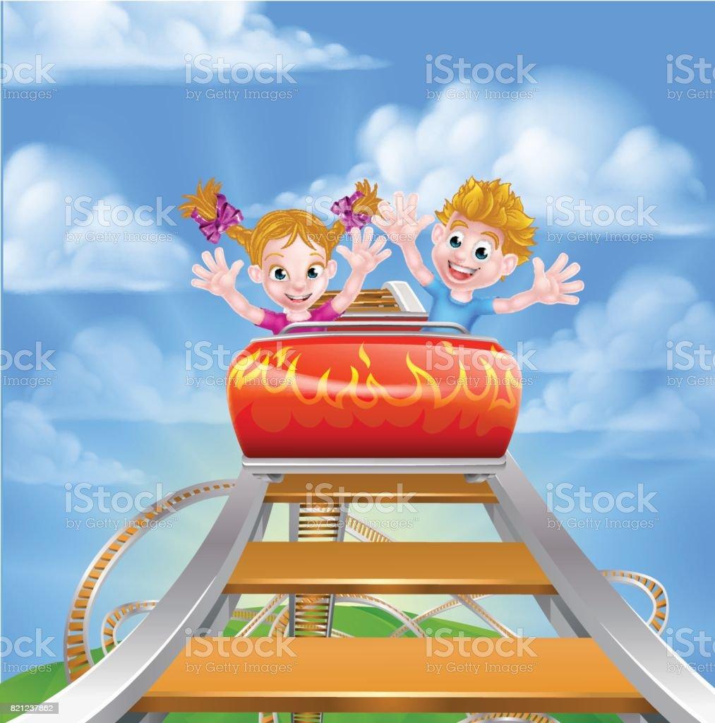 Cartoon Theme Park Roller Coaster vector art illustration