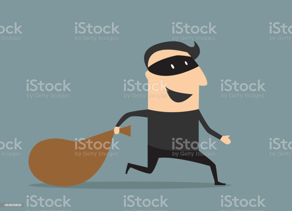 Cartoon thief in mask with sack vector art illustration