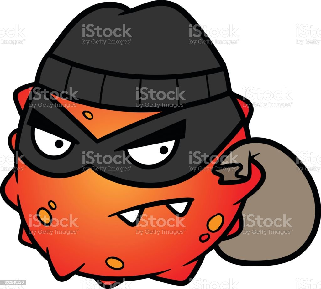 Cartoon Thief or Burglar Virus Cell or Bacteria Vector Illustration vector art illustration