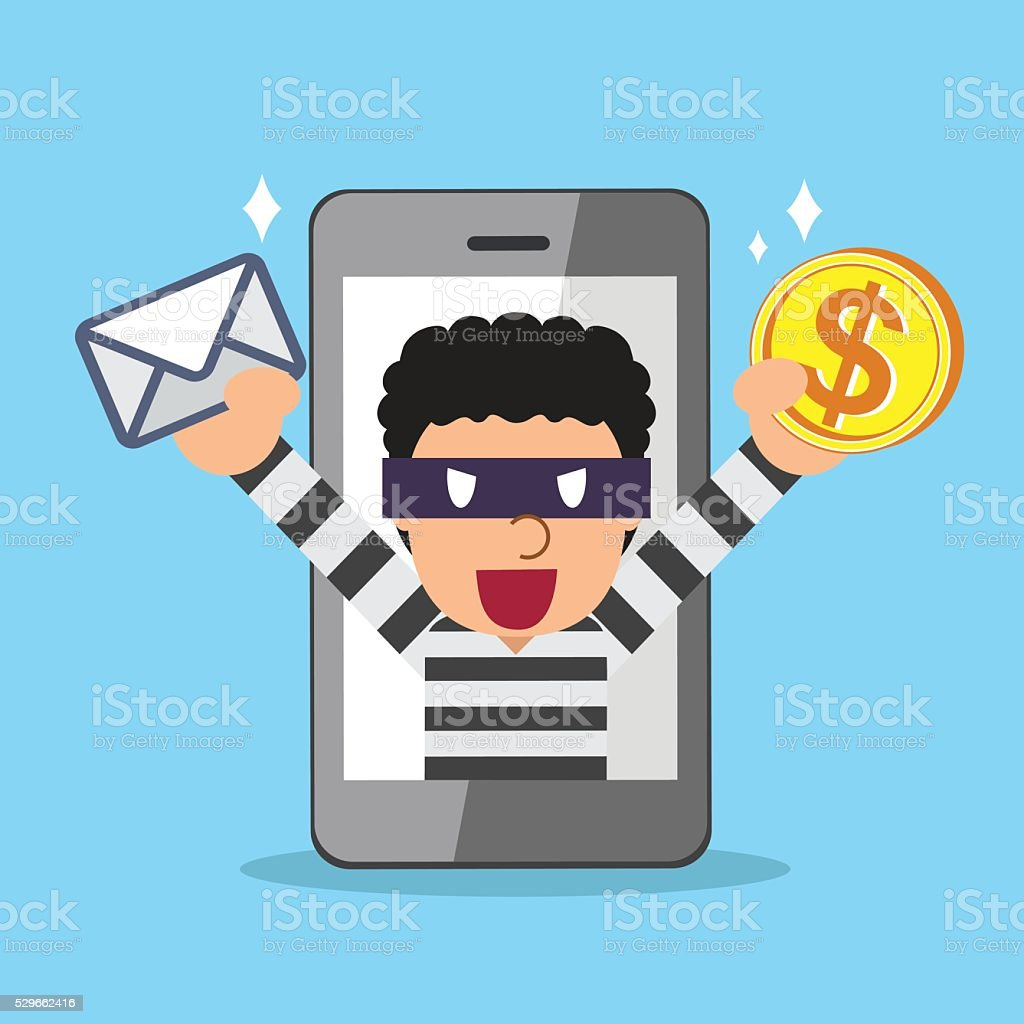 Cartoon thief stealing mail and money from smartphone vector art illustration