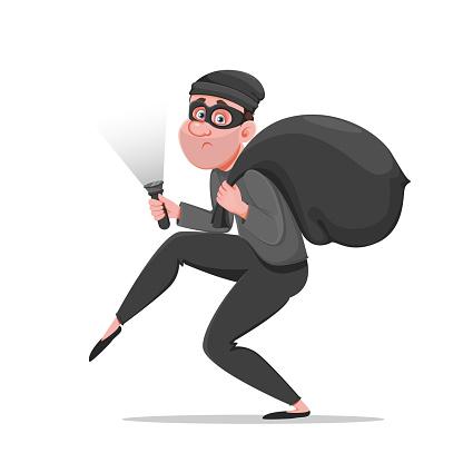 Cartoon thief walking carefully. Funny burglar