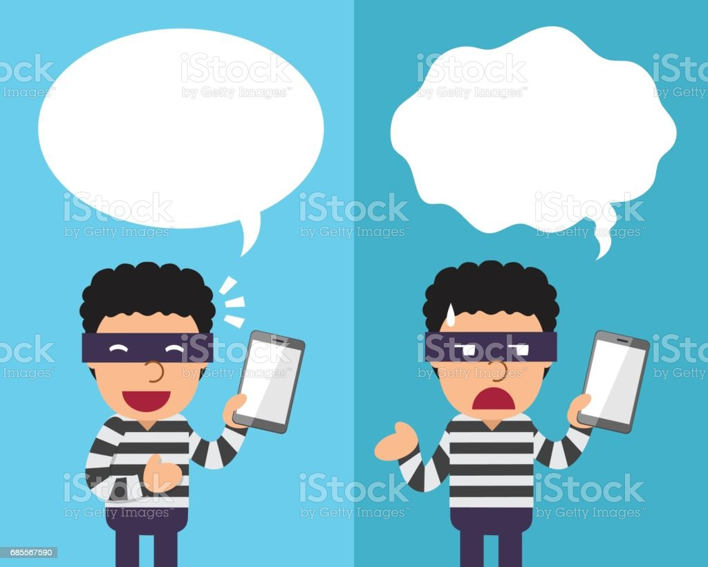 Cartoon thief with smartphone expressing different emotions with speech bubbles royalty-free cartoon thief with smartphone expressing different emotions with speech bubbles 감정에 대한 스톡 벡터 아트 및 기타 이미지