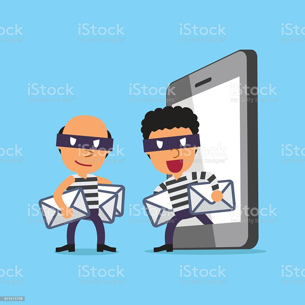Cartoon thieves stealing mails from smartphone vector art illustration