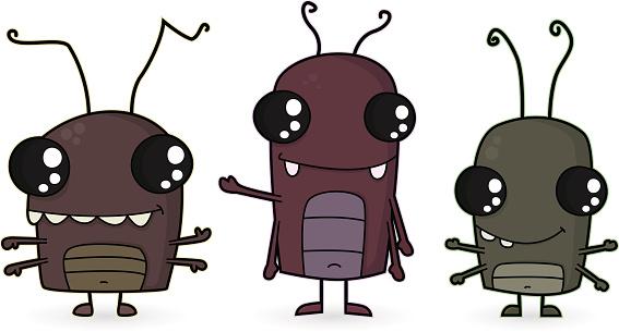 Cartoon/ Three Cockroaches / Vermins