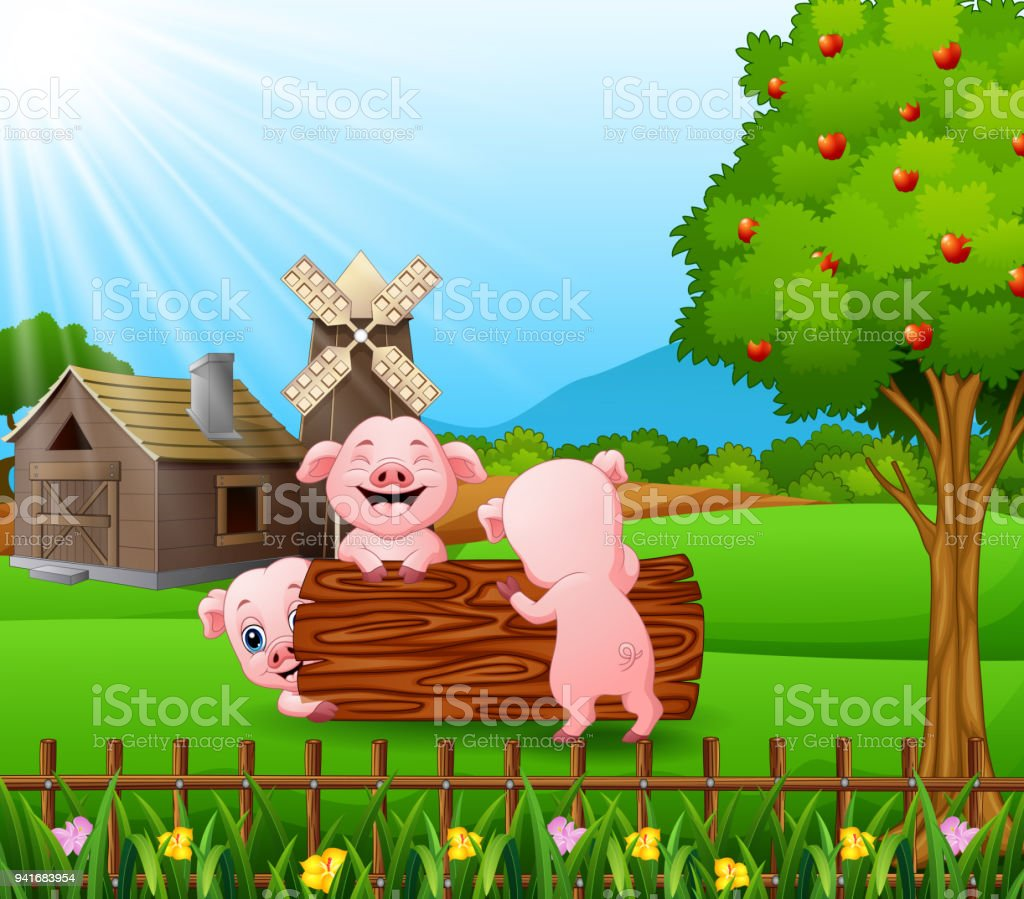 Cartoon Three Little Pigs Play In The Log With Farm Background Royalty Free